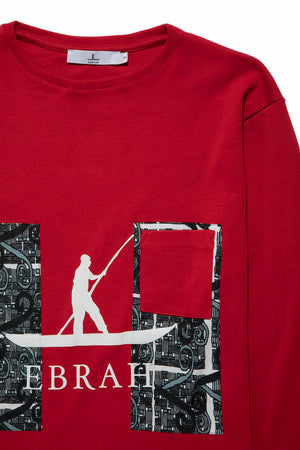 T-shirt rouge homme col rond Tagouana | Ebrah