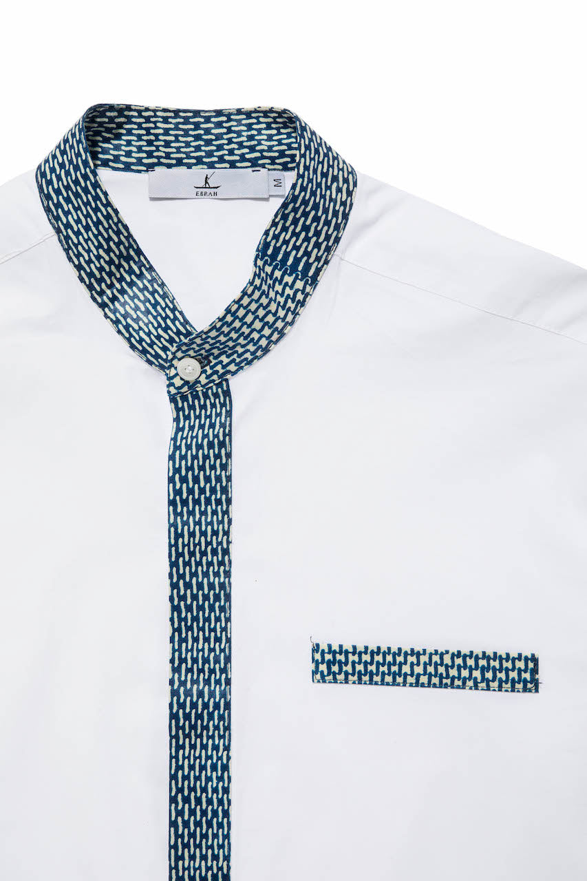 ebrah, col mao, chemise blanche made in france