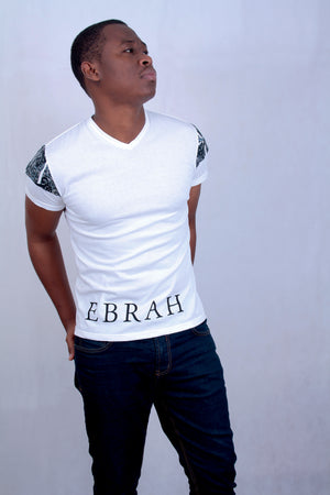 EBRAH, T-SHIRT MANCHES COURTES BLANC AVEC WAX, TEE-SHIRT HOMME BLANC, T-SHIRT BLANC, T-SHIRT MADE IN FRANCE, T-SHIRT BLANC DOS BANDE WAX