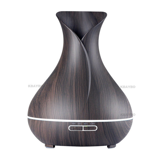 Wood Grain Essential Oil Diffuser Aromatherapy Air Humidifier 7 Color Changing LED Lights 400ml Capacity Great Gift