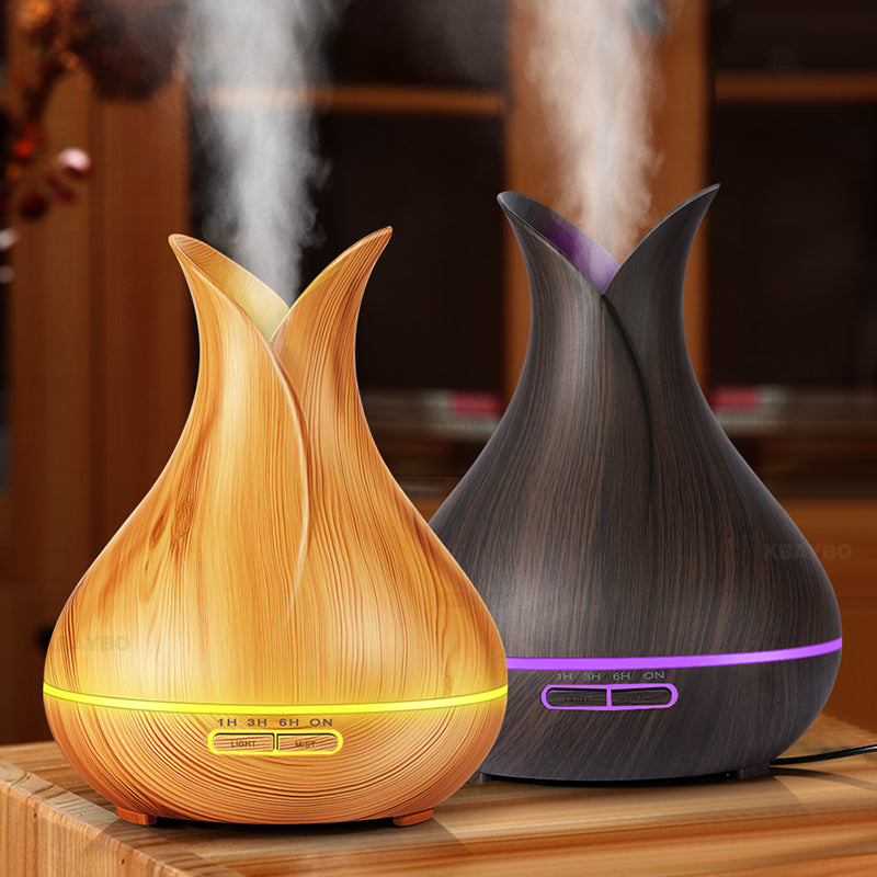 400ml electric Aroma Essential Oil Diffuser Ultrasonic Air Humidifier Wood Grain Cool Mist maker LED Night Light for home