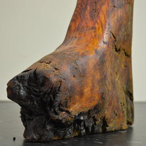 Clog - Bog Oak Sculpture tip of the boot visible burnt at some time in the past