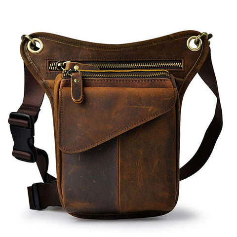 Leather Leg Bag Motorcycle Brown