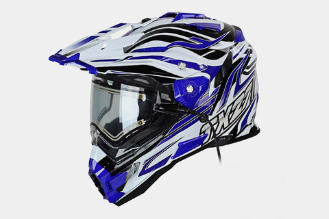 Snow Master TX-27 Gloss White and Blue DS Snowmobile Helmet