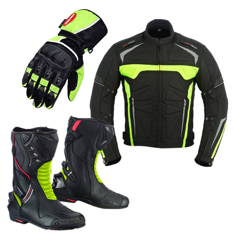 Motorcycle boots, gloves and jacket