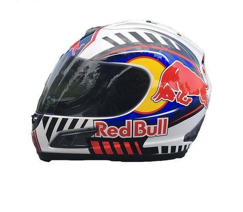RED BULL JORGE LORENZO MOTORCYCLE FULL FACE HELMET
