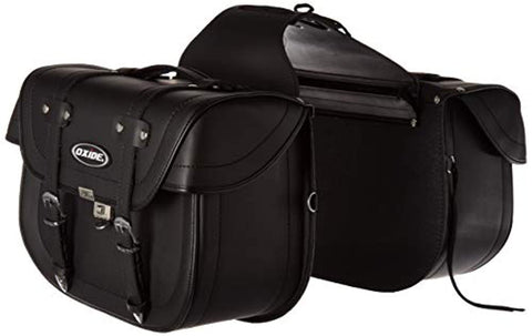 Oxide Deluxe Tek Leather Motorcycle Panniers Saddle Bags Cruiser Travel Bags WS-1000