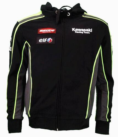 Kawasaki Motocard SBK Team Black Green Zip Up Hoodie Fleece 2016