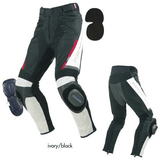Komine PK-717 Sports Riding Leather Mesh Pants White