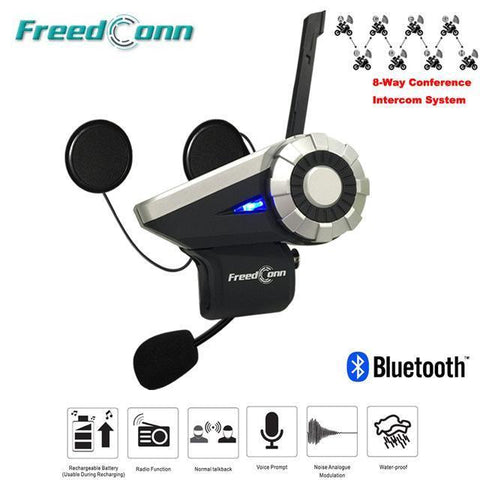 FreedConn T-Rex Motorcycle Bluetooth Helmet Intercom 1000M Waterproof
