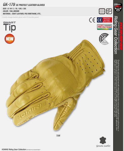 Komine GK-179 CE Protect Leather Gloves