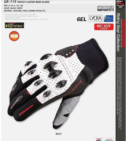 Komine GK-114 Protect Leather Mesh Gloves