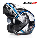LS2 Helmets blue Kilometer / L LS2 FF370 Men Flip Up Motorcycle Helmet
