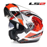 LS2 Helmets Red Universe / L LS2 FF370 Men Flip Up Motorcycle Helmet