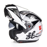 LS2 Helmets White printing / L LS2 FF370 Men Flip Up Motorcycle Helmet