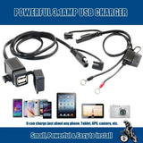 Motopower Battery Chargers Motopower MP0609EA 3.1Amp Waterproof Motorcycle Dual USB Charger Kit