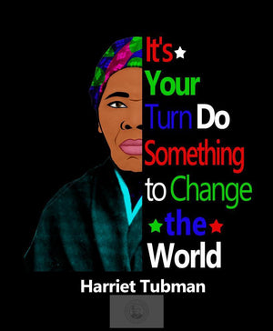 Harriet Tubman silhouette colorful image