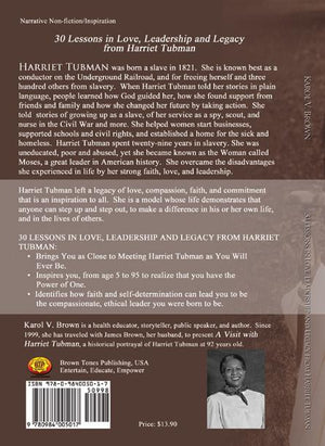 Harriet Tubman book about her life as a slave, and a free woman back cover