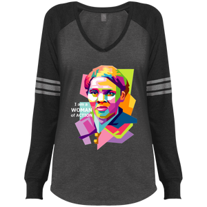 Harriet Tubman A Woman of Action Ladies' Game LS V-Neck T-Shirt