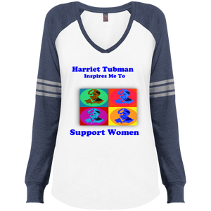 Harriet Tubman Inspires Us to Support Women Ladies' Game LS V-Neck T-Shirt