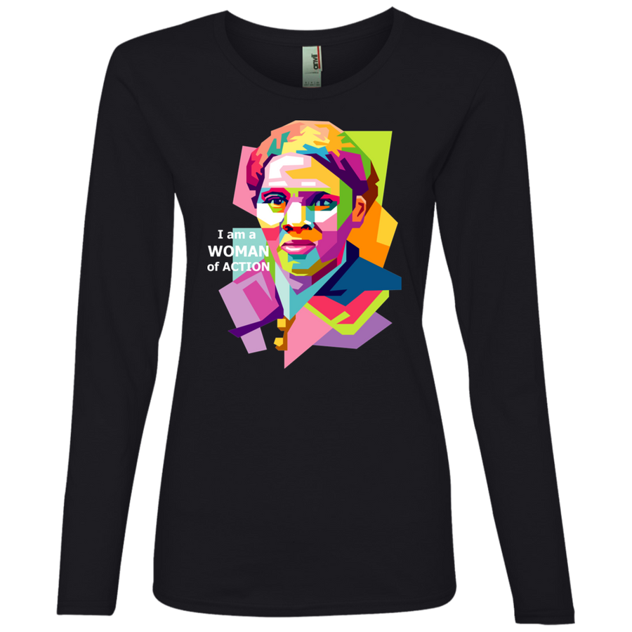 Harriet Tubman A Woman of Action Ladies' Lightweight LS T-Shirt