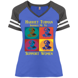 Harriet Tubman Inspires Me to Support Women  Ladies' Game V-Neck T-Shirt