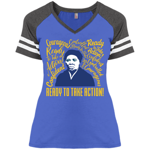 Harriet Tubman Ready to Take Action! Ladies' Game V-Neck T-Shirt