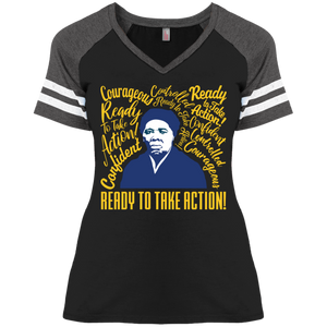 Harriet Tubman Courageous Ready for Action Ladies' Game V-Neck T-Shirt