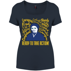 Harriet Tubman Courageous, Ready for Action Women's Perfect Scoop Neck Tee