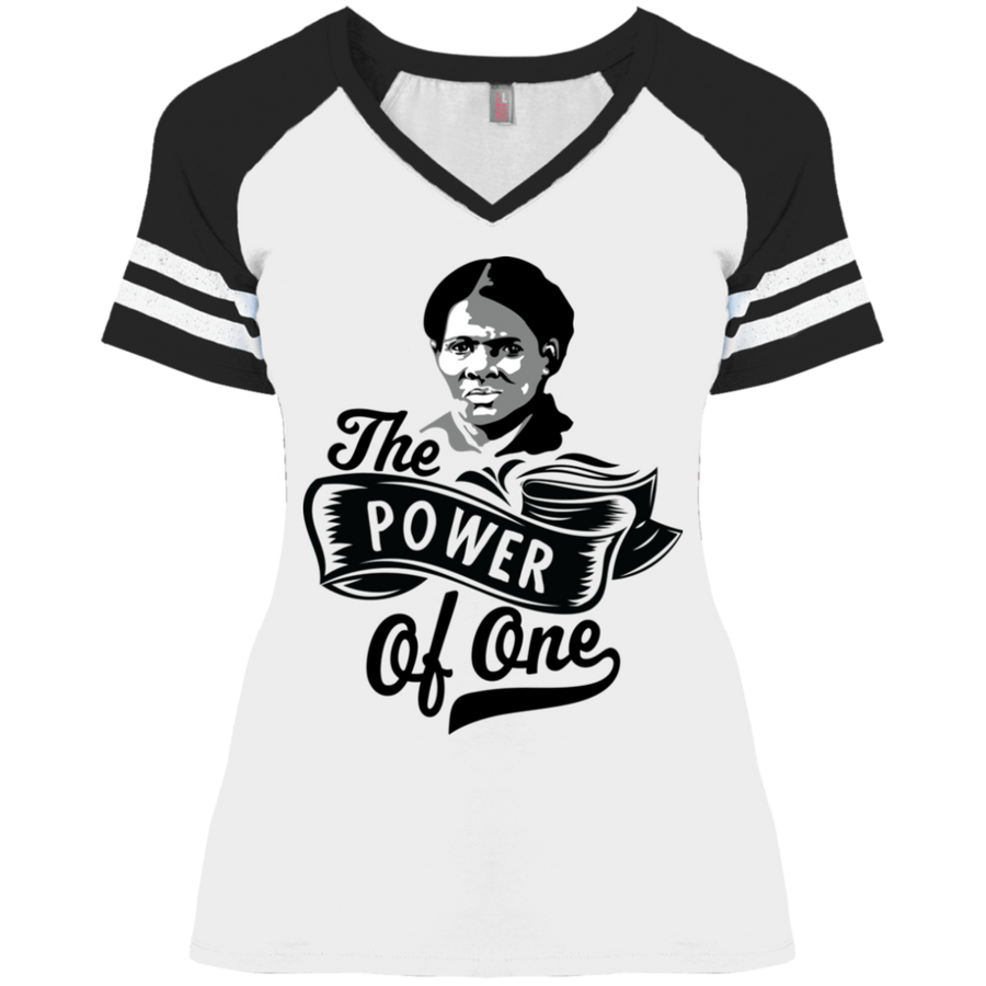 Harriet Tubman The Power Of One Ladies' Game V-Neck T-Shirt