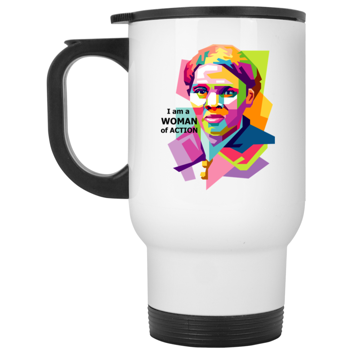 Harriet Tubman A Woman of Action -  White Travel Mug
