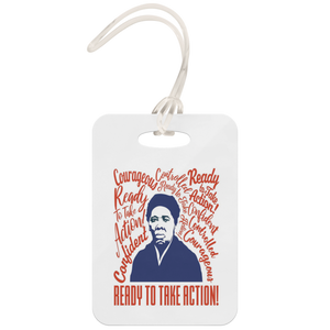 Harriet Tubman, Courageous, Confident, Controlled, Ready to Take Action Luggage Tag Red and White