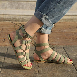 Summer Bohemia Sandals Vintage Leather Gladiator