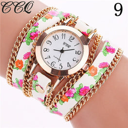 Flower Leather Bracelet Fashion Women Watches