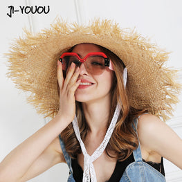 Lace Strap Straw Hat Bow