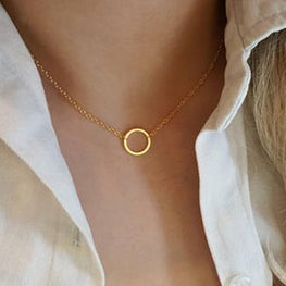 Vintage Minimal Dainty Circle Necklace