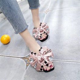 Slippers Flower Bow Flat Heel Shoes Bow Tie