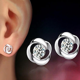 Beautiful Silvering Earrings Crystal Shiny Exquisite