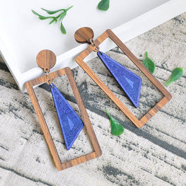 Ladies Temperament Wooden Earrings
