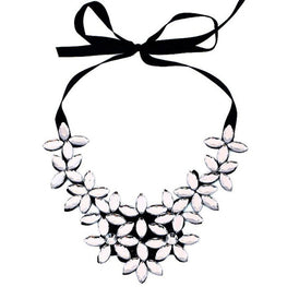 Flower Ribbon Chain Short Necklace