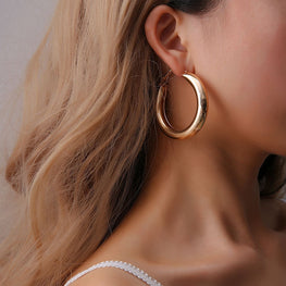 Thick Tube Alloy Round Hoop Earrings