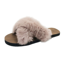Autumn Plush Slippers Women Fluffy Faux
