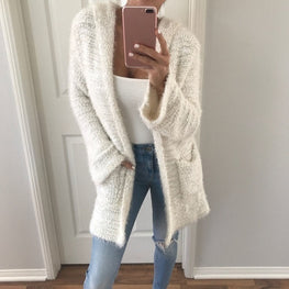 Long Sleeve Knitted Open Front tops