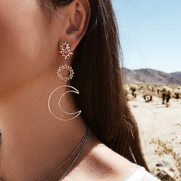 Bohemia Star Sun Moon Hollow Earrings