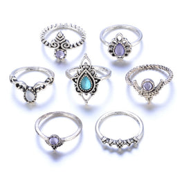 7pcs/Set Women Rings Bohemian Anillos