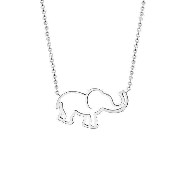 Gold Chain Origami Elephant Pendant Necklaces