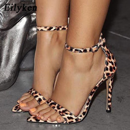 Fashion Leopard Women Sandals Buckle Strap High Heels
