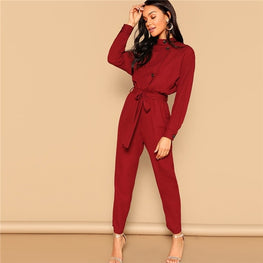 Burgundy Button Front Self Jumpsuit