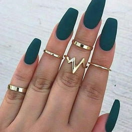 Lightning ECG Set Alloy Smooth Ring