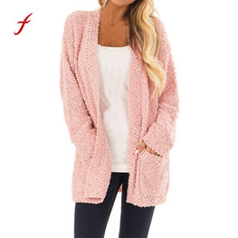 Long Cardigan Women Sweater Fleece Long